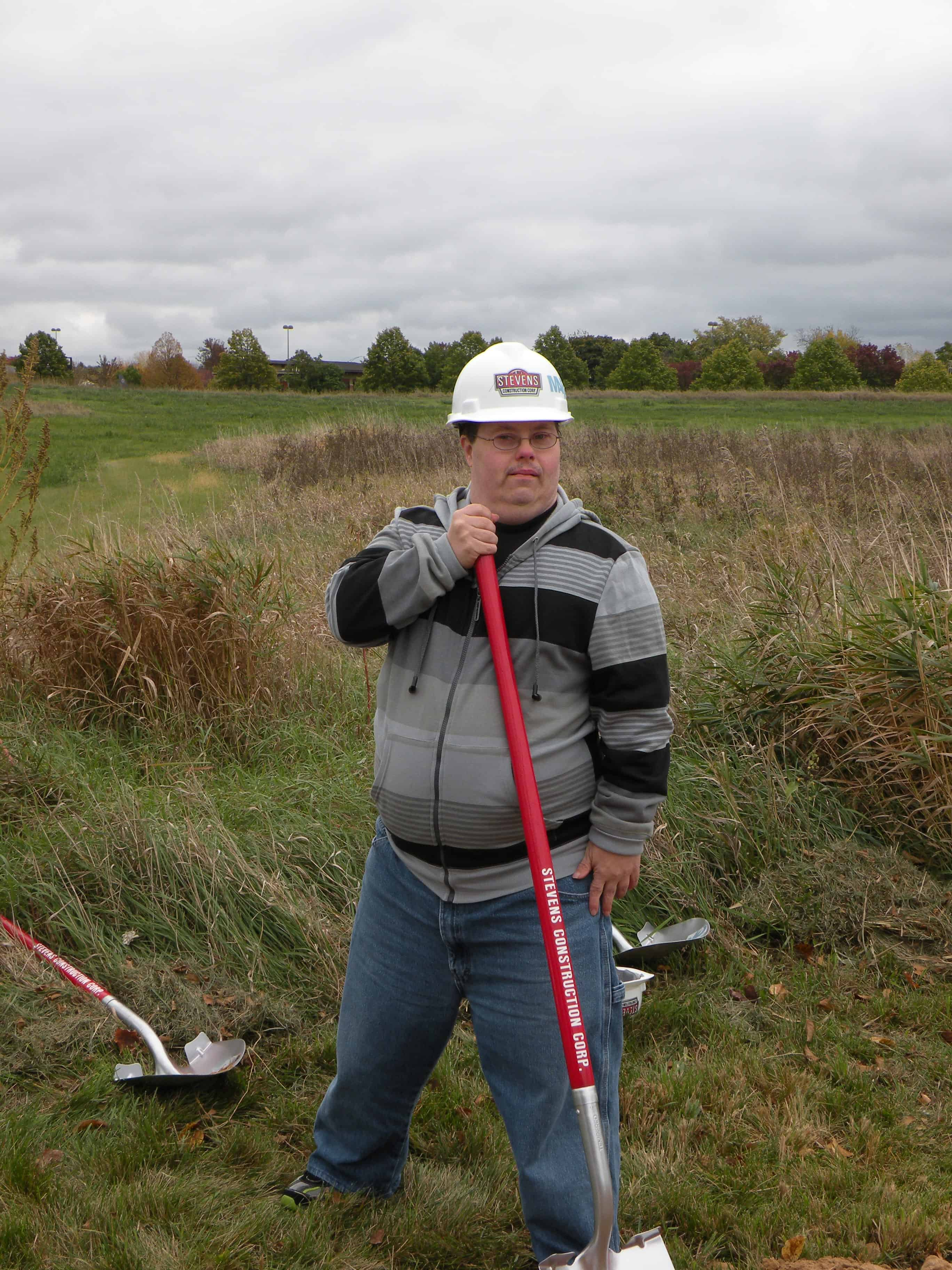 Client Shoveling at MARC E Ground Breaking 2  10-18-2013